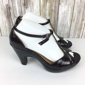 Sofft Deep Brown Pearl 8.5W Open Toe T-Strap Heels